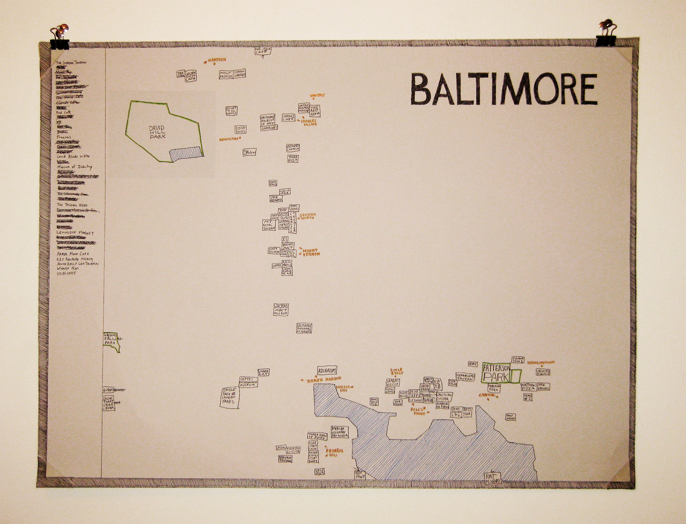 hand drawn map of baltimore showing different locations as small rectangles