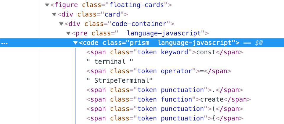 Chrome dev tools showing prism class applied to code tag.